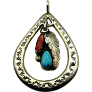 Gorgeous Sterling Navajo Pendant Drop Calavaza Turquoise Coral