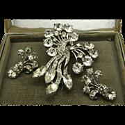Large Early Sterling Eisenberg Fur Clip & Earrings Box