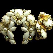 Delightful White Wreath Juliana Rhinestone Pin & Earrings Set