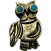 Vintage Native American Navajo Sterling Turquoise Owl Pin