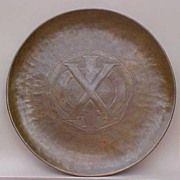 Large Handmade Copper Arts & Crafts Chi Phi Plaque or Tray