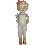 """Unusual 1930s Japan Japanese All Bisque 7"""" Shirley Temple Doll HTF"""