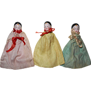 Set of Antique Bisque Pierrot Doll Head Candy Container Christmas Ornaments from Germany
