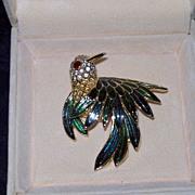 Crystal and Enamel Bird Pin
