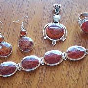 REDUCED Fire Agate and Silver Suite ~ Earrings, Ring, Bracelet and Pendant