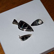 SALE Inlaid Opal, Black Onyx and Silver Earrings and Pendant Set