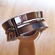 Vintage Modernistic ~ Sterling Silver Wide Cuff Bangle