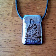 Glass Butterfly & Black Silken Cord Necklace