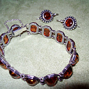 SALE Amber and Sterling Silver Bracelet and Earrings Set