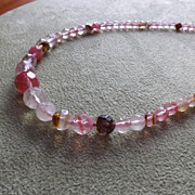 SOLD Natural Faceted Watermelon Tourmaline Beaded Necklace