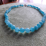 SOLD Faceted Brazilian Aquamarine Beaded  Necklace