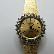 Vintage Solid 14 Karat Yellow Gold & Diamond Concord Ladies Watch