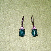 Russian Amazonite and White Topaz Sterling Silver Lever Back Earrings