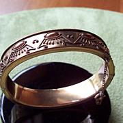Egyptian Revival Motif 14 Kt Gold Filled Hinged Bangle Bracelet