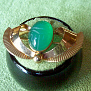 Retro Green Agate Scarab Pin and Pendant