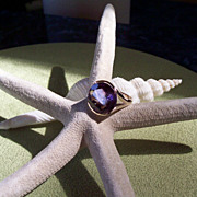 SALE Retro Amethyst and Yellow Gold Ring
