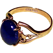 Deep Blue Lapis and 14kt Yellow Gold Ring