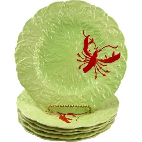 Set of Six Vintage Carlton Ware, England, Leaf Lobster Plates