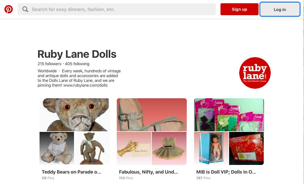 Ruby Lane Dolls Pinterest Page Launched