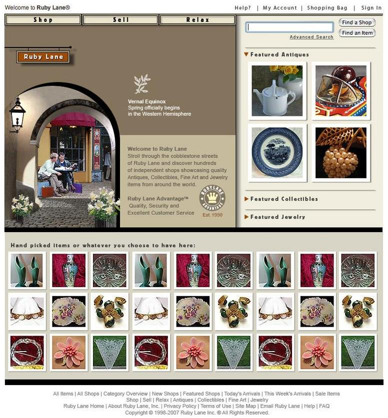 Ruby Lane launches a major site update to the home and splash pages