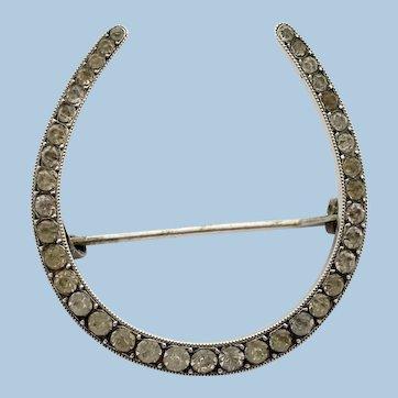 Edwardian Silver & Paste Lucky Horseshoe Brooch Pin