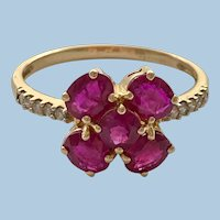 18ct Gold Burmese Ruby and Diamond 4 Leaf Clover Iliana Ring Size 9