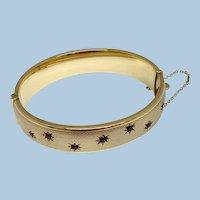 Vintage 9ct Gold Bangle Bracelet With Garnet Stars