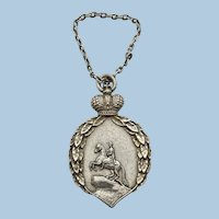 Antique Russian Silver Fob Pendant With Tsar On Horseback