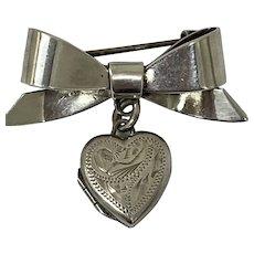 Sentimental Vintage Silver Bow Brooch with Love Heart Locket