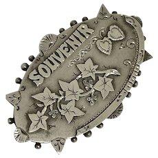Antique Silver Ivy Leaf & Love Heart Locket Backed Brooch  1893