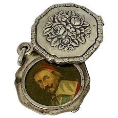 Antique German 800 Silver Martin Mayer Chatelaine Mirror Locket Pendant