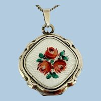 Vintage 835 Silver Enamel Locket And Silver 19 Inch Chain