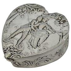 Antique German Silver Love Heart Trinket Pill Box