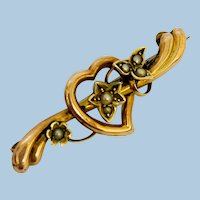 Art Nouveau 9ct Rose Gold Love Heart Friendship Brooch