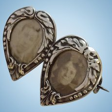 Art Nouveau French silver double photo locket brooch pin