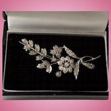 Classic 18ct white gold & diamond flower spray brooch