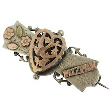 Rare antique silver and gold Mizpah sweetheart brooch pin