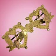 Antique 9ct gold Mizpah brooch
