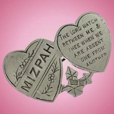 Antique silver Mizpah brooch pin