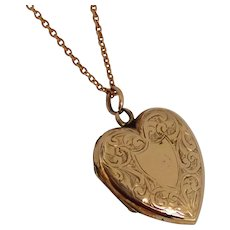 Antique Rose Gold Heart Shaped Locket With 9ct gold chain