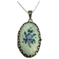 Antique silver and enamel marcasite locket and chain