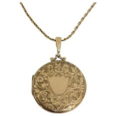 Antique 9ct gold locket and chain