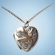 Vintage silver & rose gold love bird locket and 18 inch silver chain