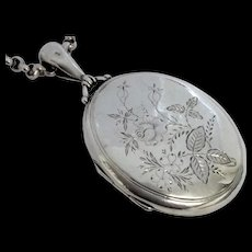 Antique silver locket and chain hallmarked 1880