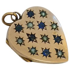 Pretty Edwardian 9ct rose gold sapphire and pearl love heart locket