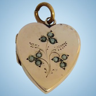 Edwardian 9ct gold back and front locket with seed pearl decoration