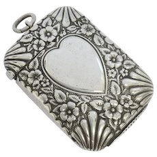 Antique silver plated loveheart vesta matchsafe 1892