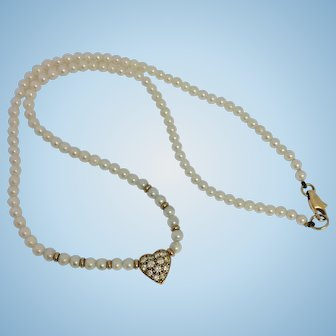 18ct Gold Diamond & Pearl Love Heart Choker Necklace