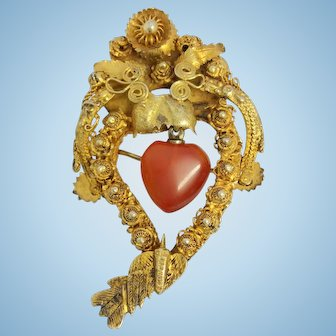 Antique Chinese silver gilt agate Witch's heart brooch