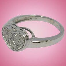 Vintage 14k white gold diamond love heart ring